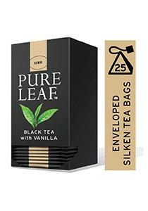 بيور ليف شاي أسود بالفانيليا ورق كامل ٢٥ باكيت شاي هرمي × ٦