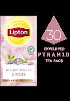 ليبتون شاي أبيض آسيوي مع الورد (٦×٣٠ باكيت شاي هرمي)