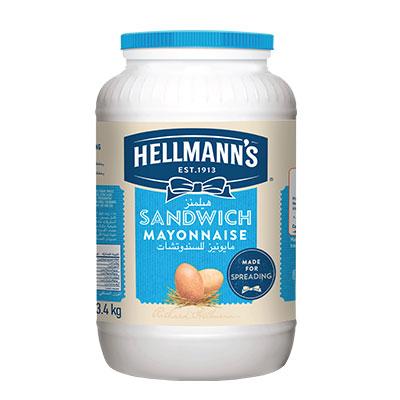 هيلمانز مايونيز للساندوتشات ٤×٣.٤كجم - المايونيز بتاعنا بيخلي الساندوتشات طازة لفترة أطول