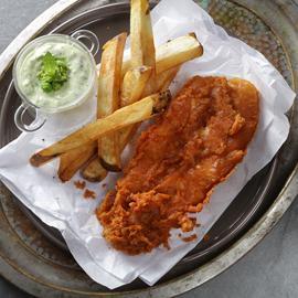 طبق السمك والبطاطس بالماسالا