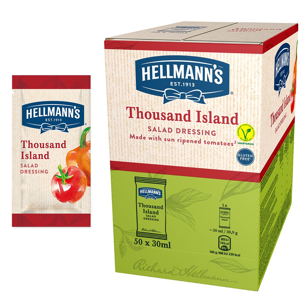 """Hellmann's Салатен дресинг Хиляда острова - доза 30 ml - """"Имам нужда от готово решение за салатен дресинг в единична доза, с качество, на което мога да разчитам и което бързо би се добавило към салата за доставка"""""""