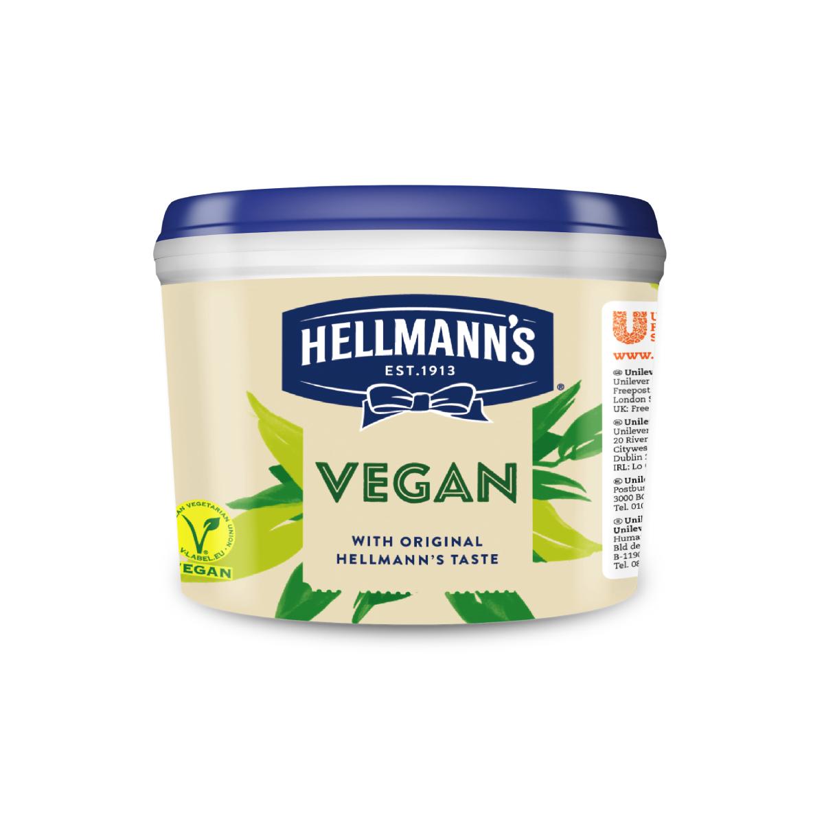 Hellmann's Веган майонеза 2.5 kg - Hellmann's майонеза във веган вариант с характерния вкус и качество на Hellmann's