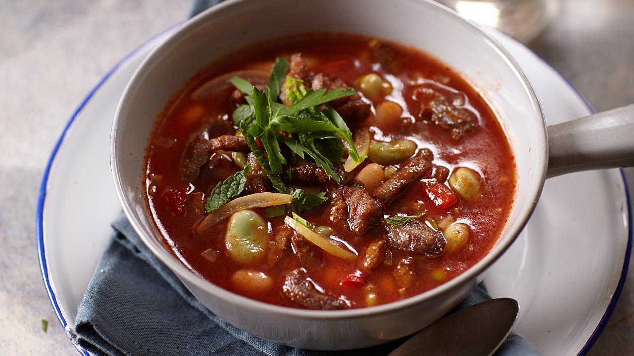 Мексиканска доматена супа с топчета и бакла/нахут