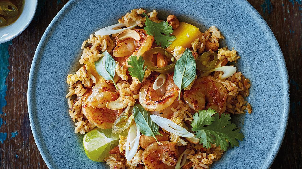 Пържен ориз с ананас
