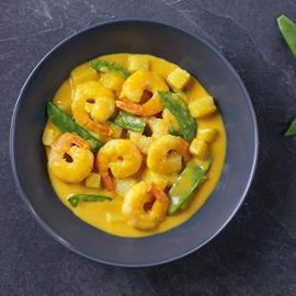 Krevety s ananasem ve žlutém kari