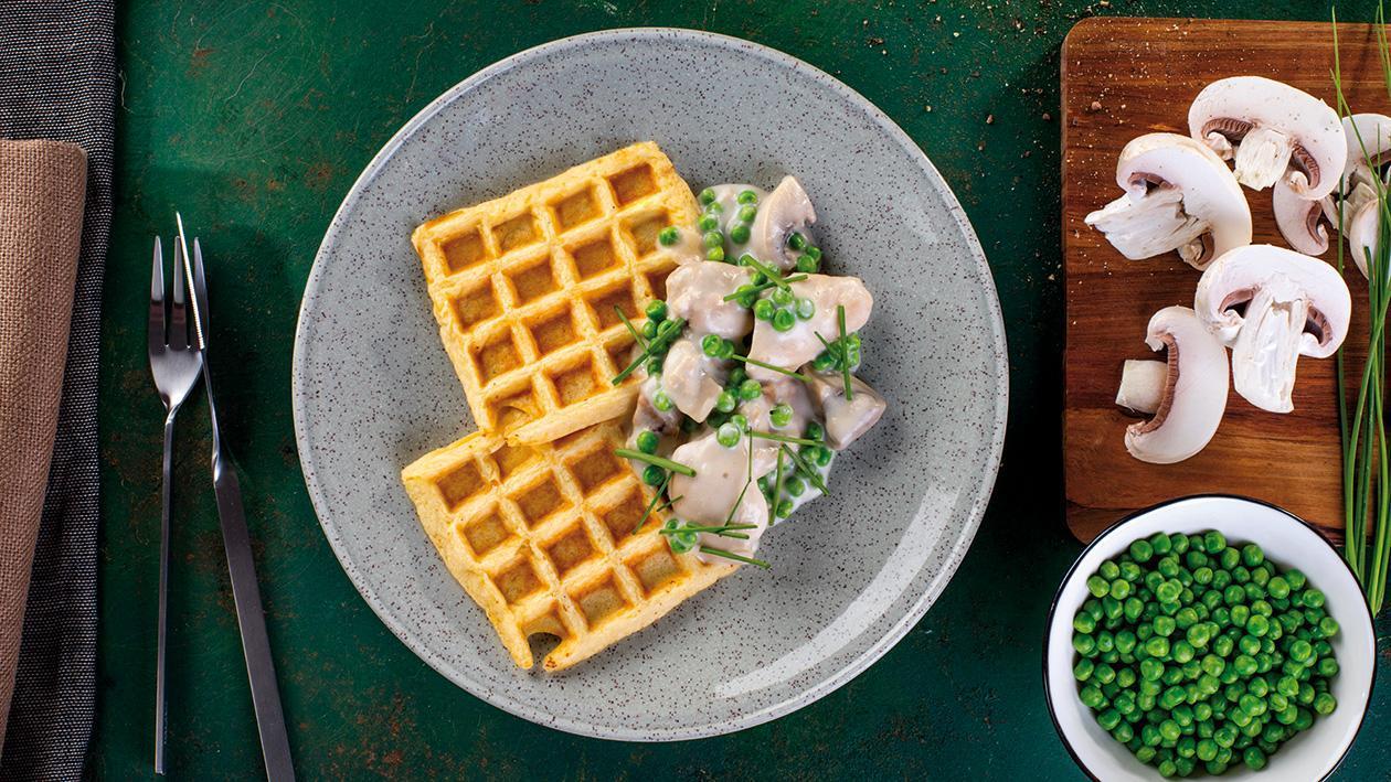 Dušené kuře s bramborovými vaflemi