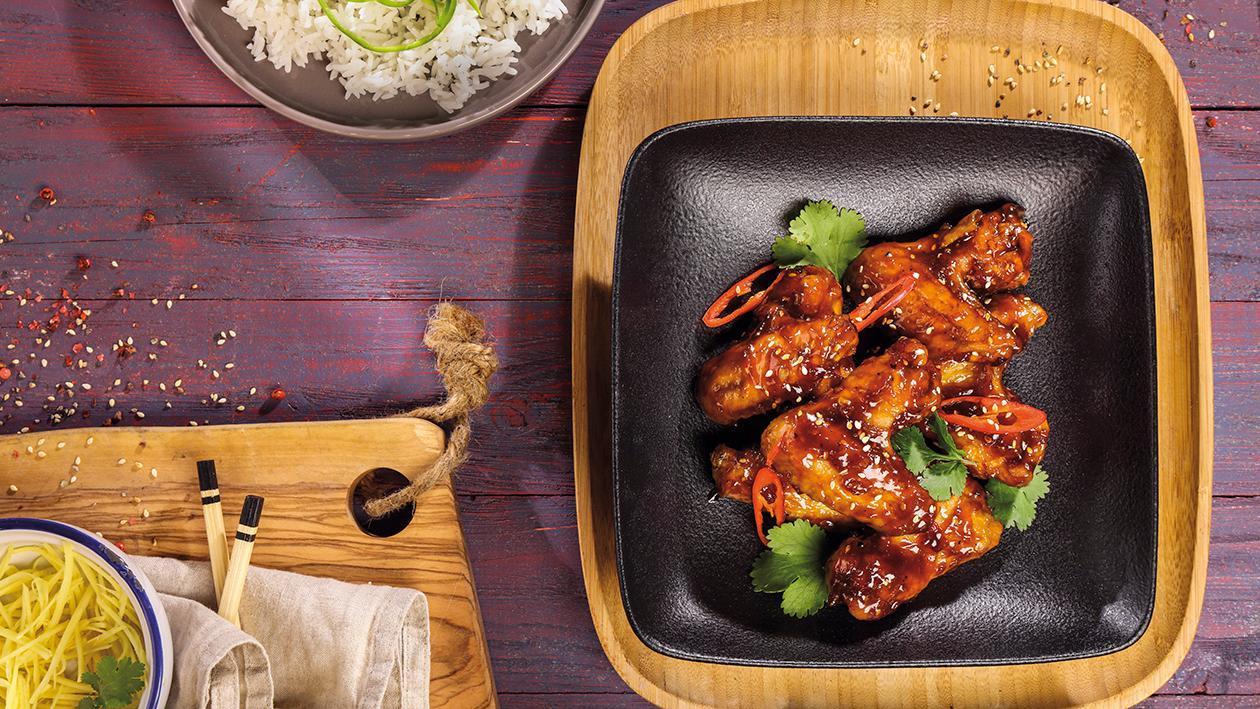 Kuřecí křídla glazurovaná v asijské omáčce BBQ