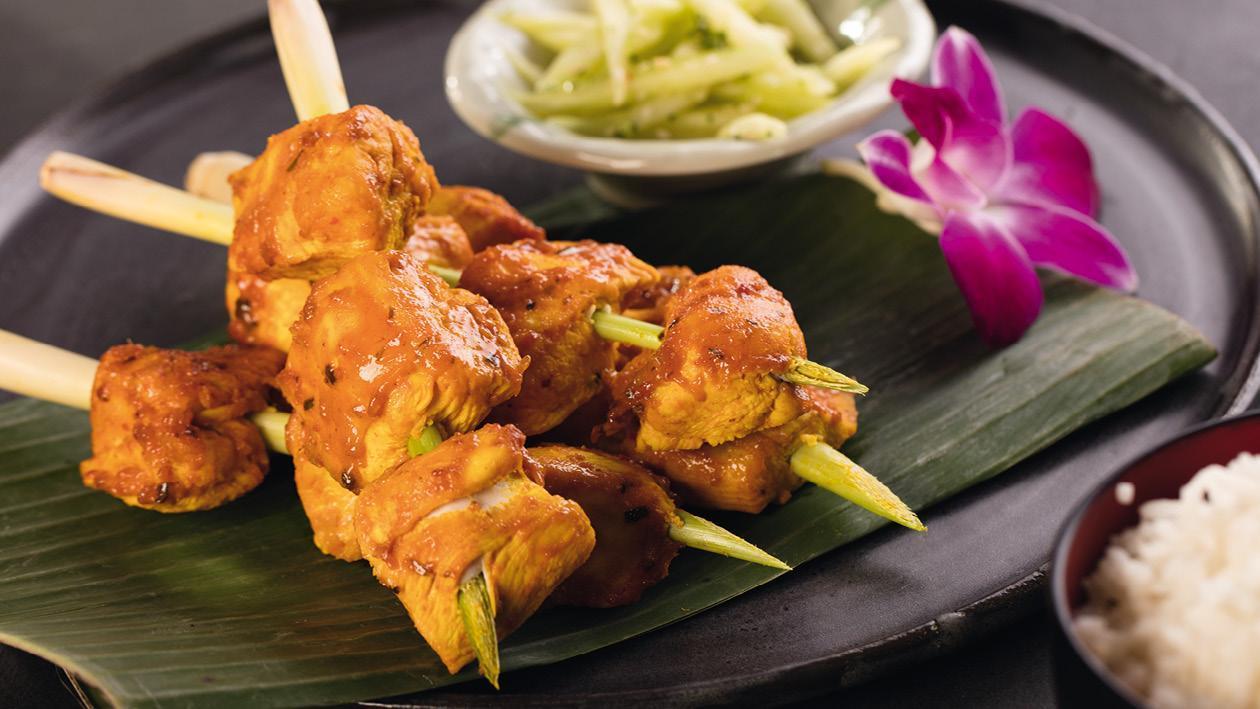 Kuřecí špíz v pikantní marinádě s kokosovým mlékem