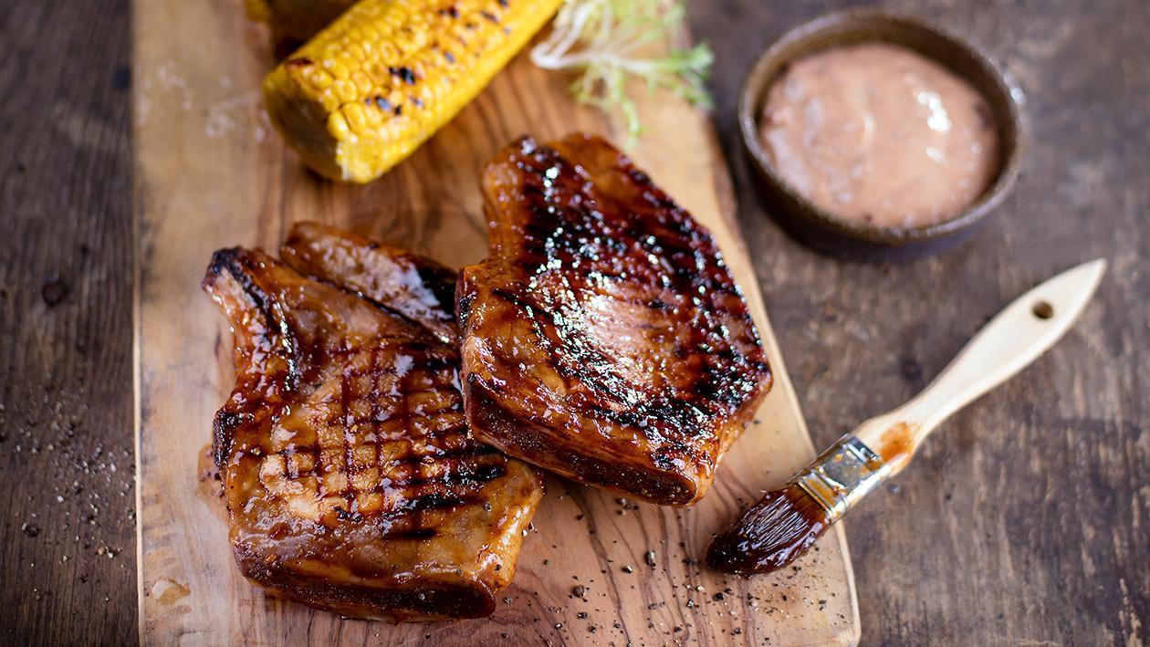 Steak z vepřové pečeně s uzenou švestkovou majonézou