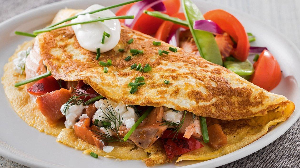 Vaječná omeleta s uzeným lososem