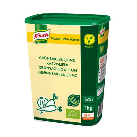 Knorr Økologisk Grønsagsbouillon, lavsalt, granulat, 1kg / 125 L