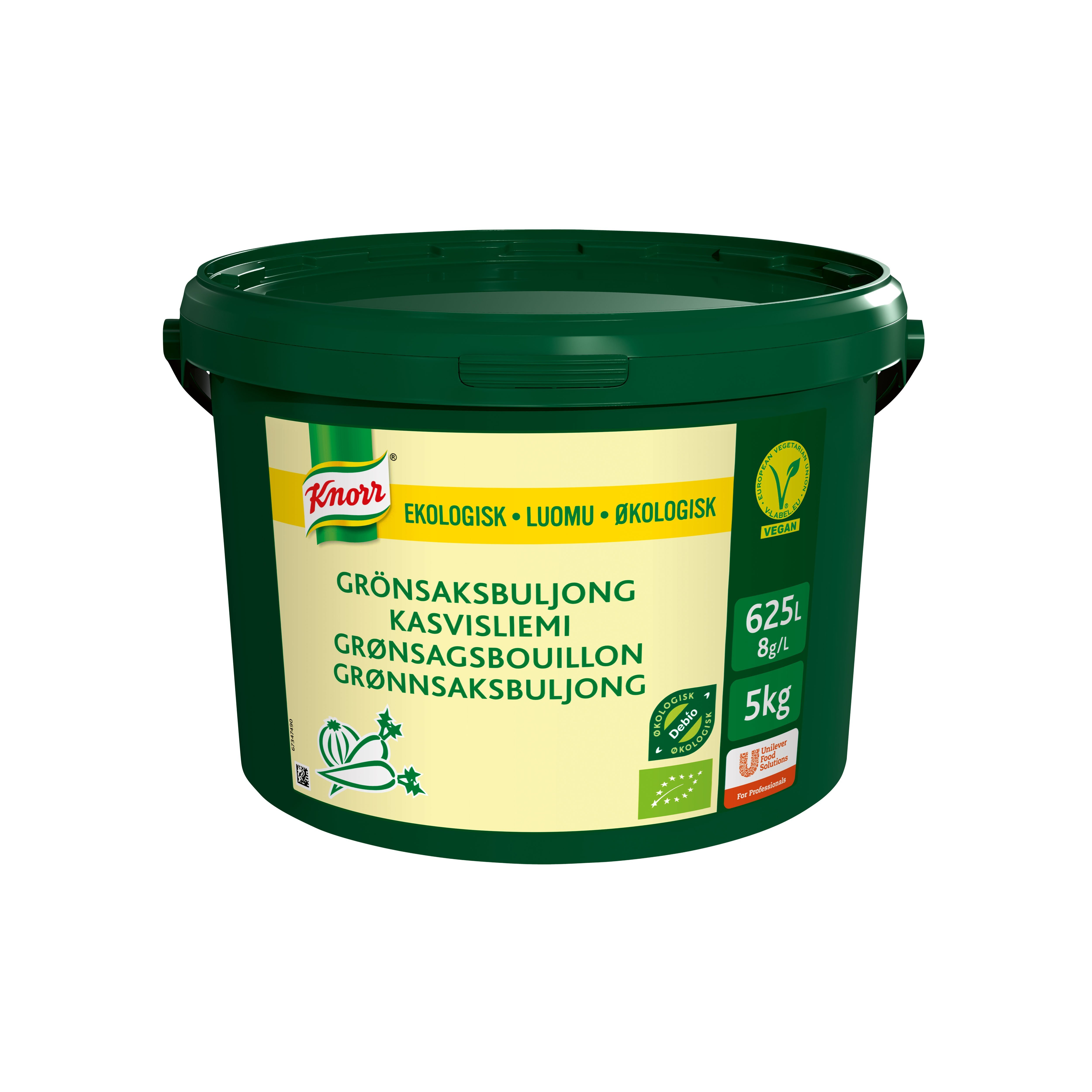 Knorr Økologisk Grønsagsbouillon, lavsalt, granulat, 5kg / 625L