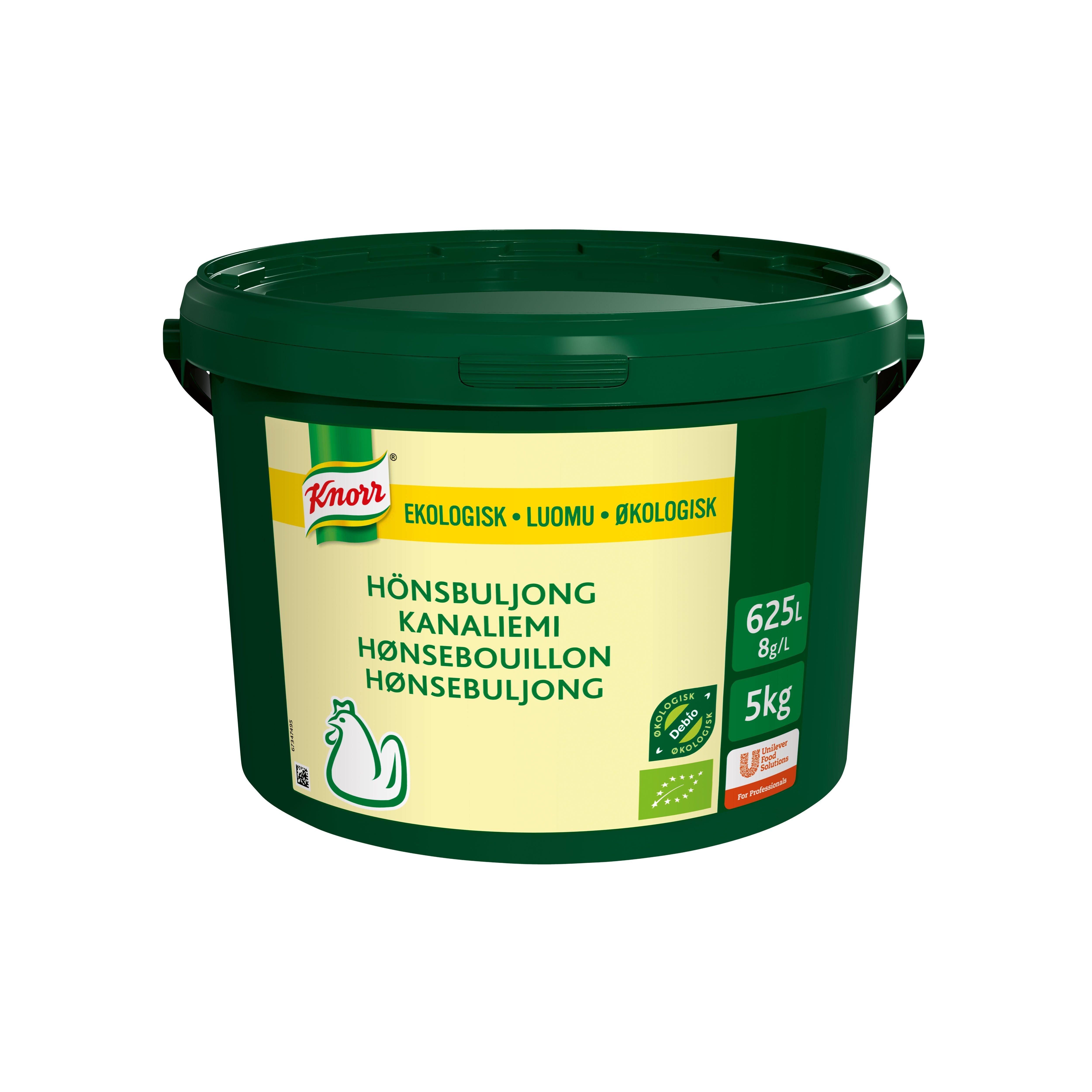 Knorr Økologisk Hønsebouillon, lavsalt, granulat, 5kg / 625 L