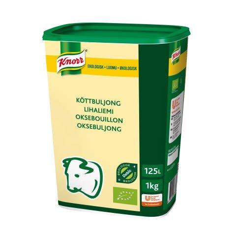 Knorr Økologisk Oksebouillon, lavsalt, granulat, 1kg / 125L