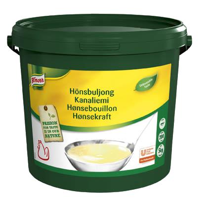 Knorr Hønsebouillon, pasta, økonomi 5 kg / 200 L - En klar kyllingebouillon med naturlige fedtperler og en velafbalanceret smag af kylling or urter
