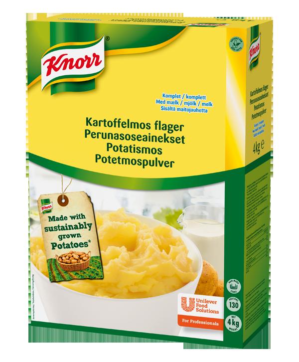 Knorr Kartoffelmos flager 4 kg - Lavet på nøje udvalgte kartoffelsorter, har en karakteristisk rig og fyldig smag og en naturlig gul farve