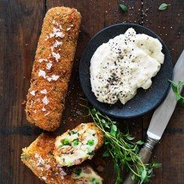 Kartoffelkroketter med sprængt okse og peberrods mayonnaise