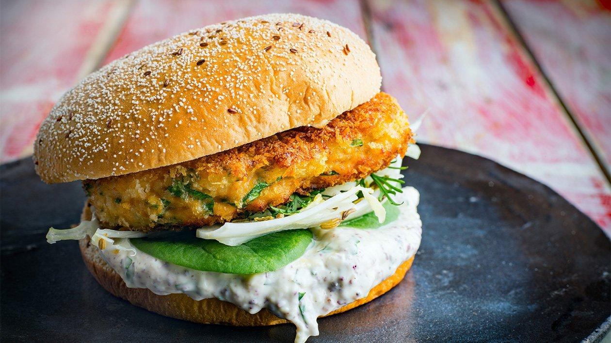 Fiskeburger med tahini-mayonnaise.
