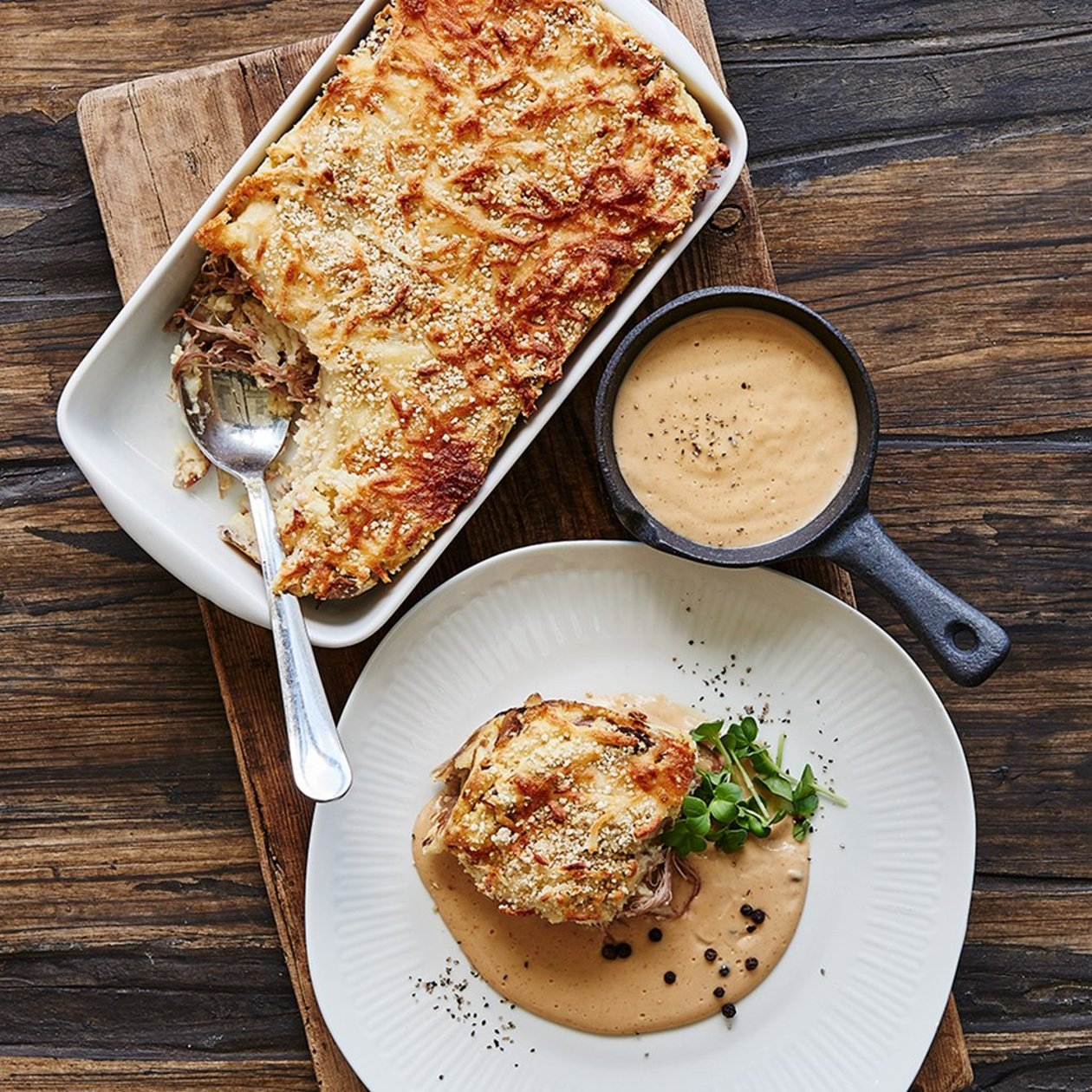 Kartoffel gratin med confiteret and
