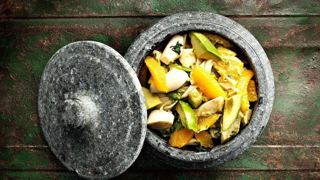 Palmitos e abacate salada - Appelsin, palmehjerte og avocadosalat