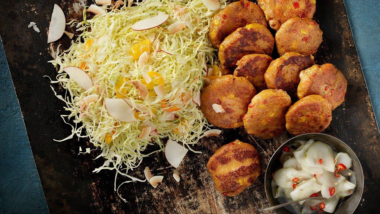 Østafrikansk søde kartoffelbøffer med piri piri agurk