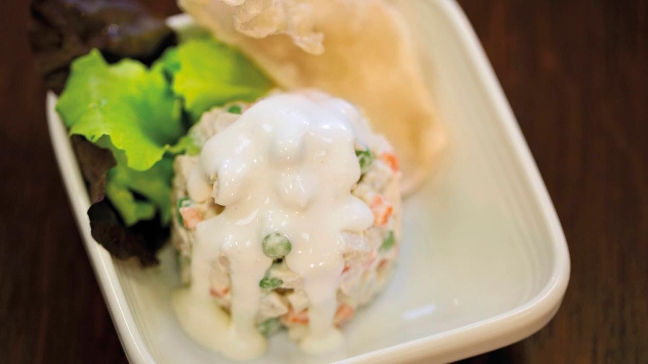 Geflügelsalat mit Reiscracker