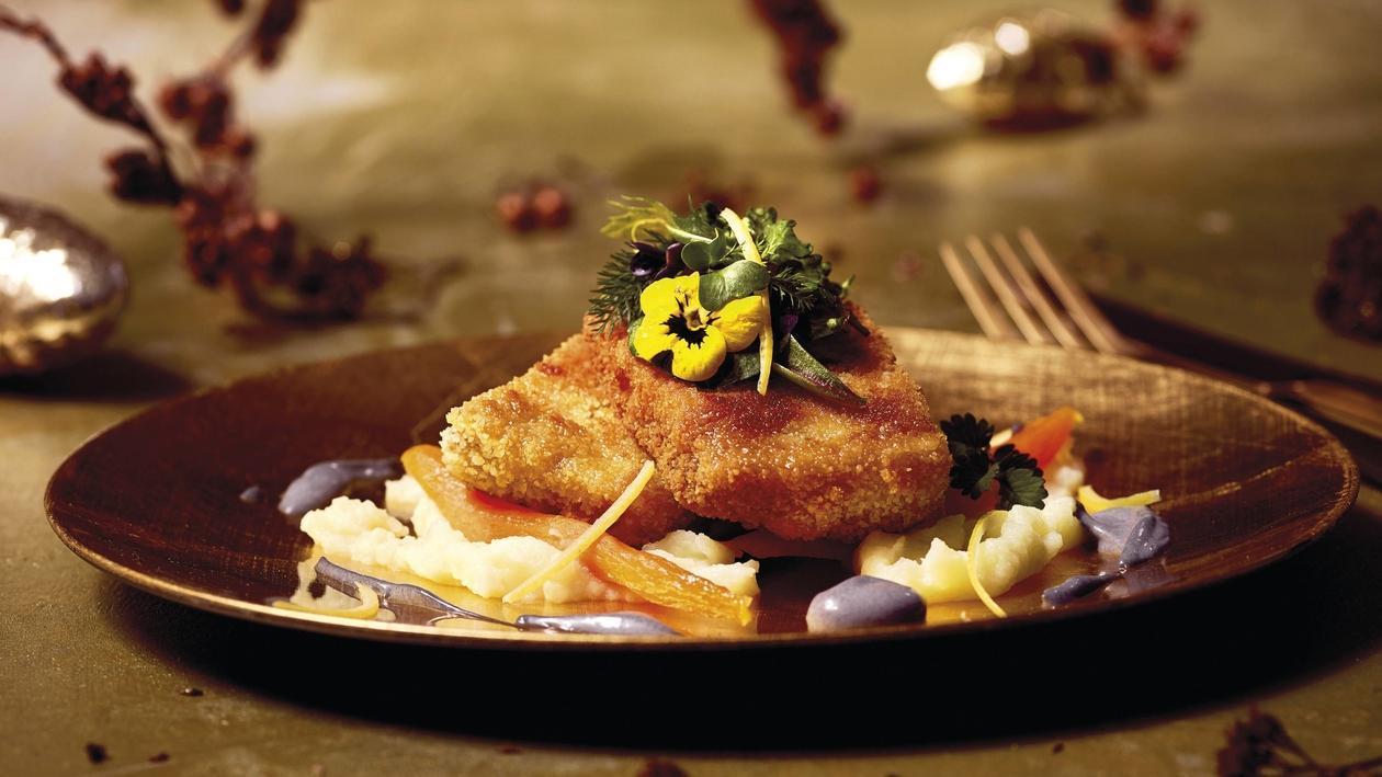 Karpfen, Holzkohle-Limetten Mayonnaise, Karotte & Kartoffel