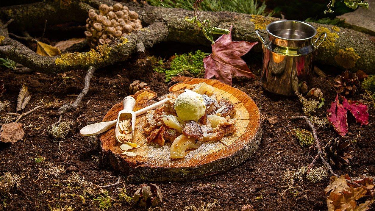 Kartoffel - Birnenschmarrn mit Vanilleeis