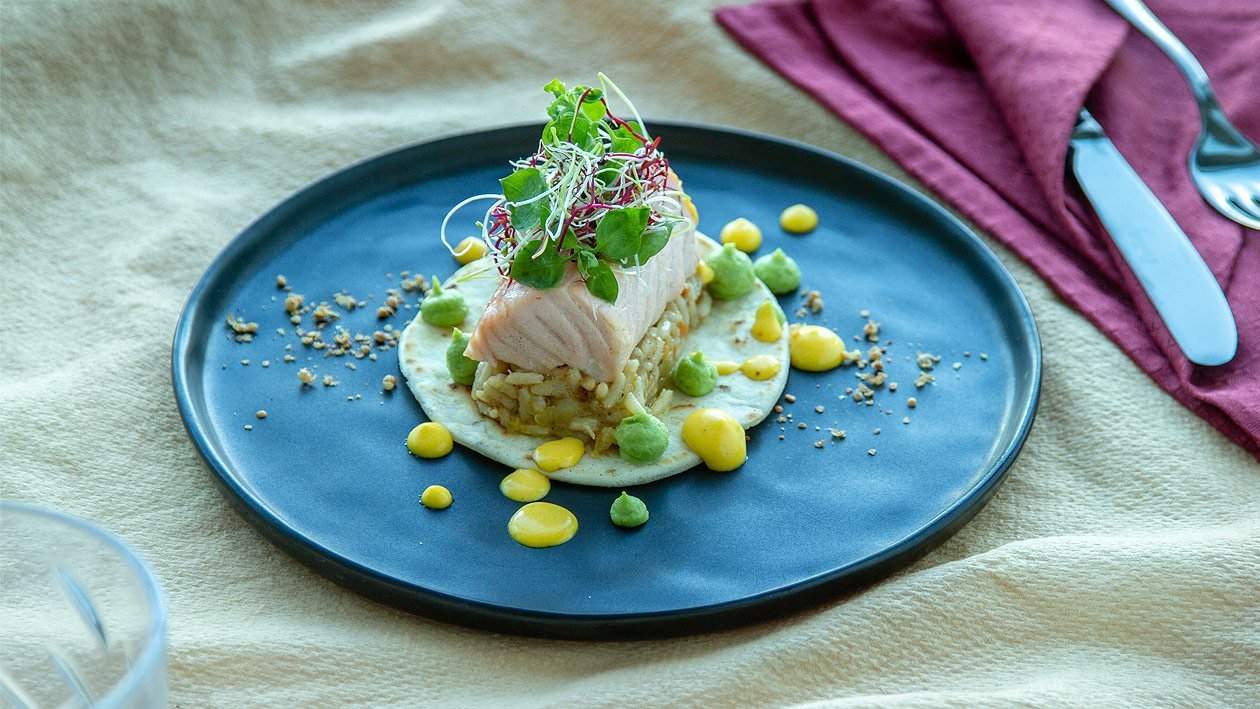 Lachs - Tortilla Loin auf Senfreis, Erbsenpüree und Safran - Hollandaise