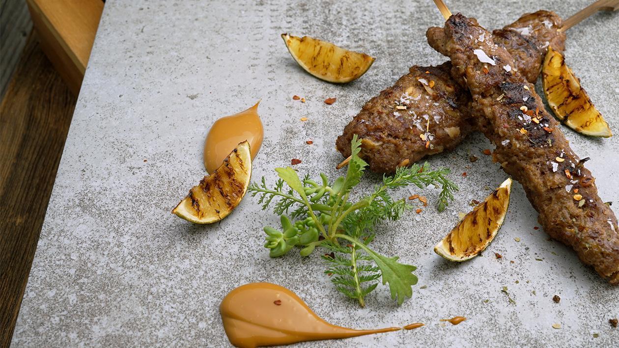 Rindfleisch - Kokos - Sate Spieße mit Curry - Limetten Mayo