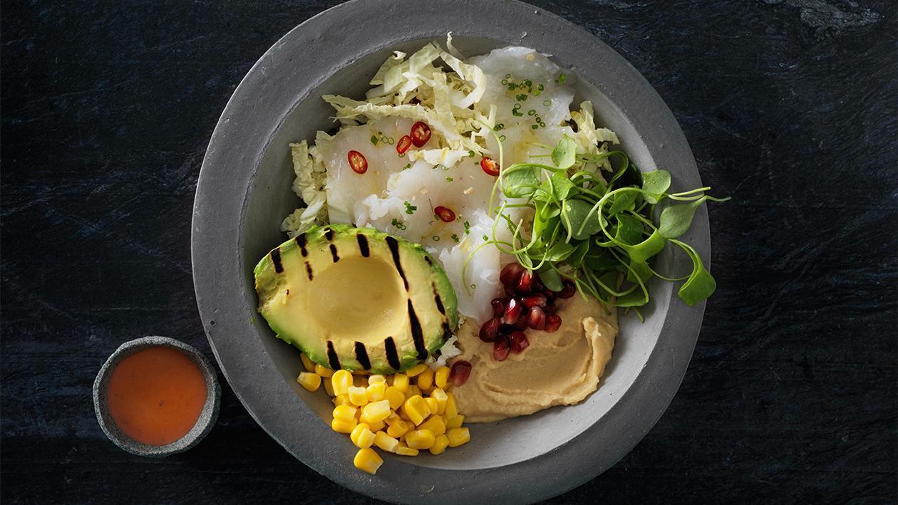 Buddha bowl mit Zander Ceviche