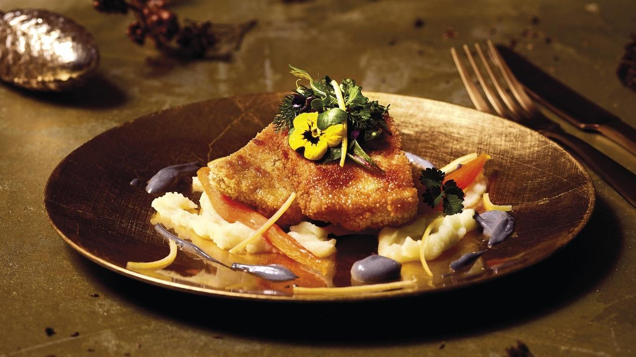 Karpfen, Holzkohle-Zitrus Mayonnaise, Kartoffel, Karotte