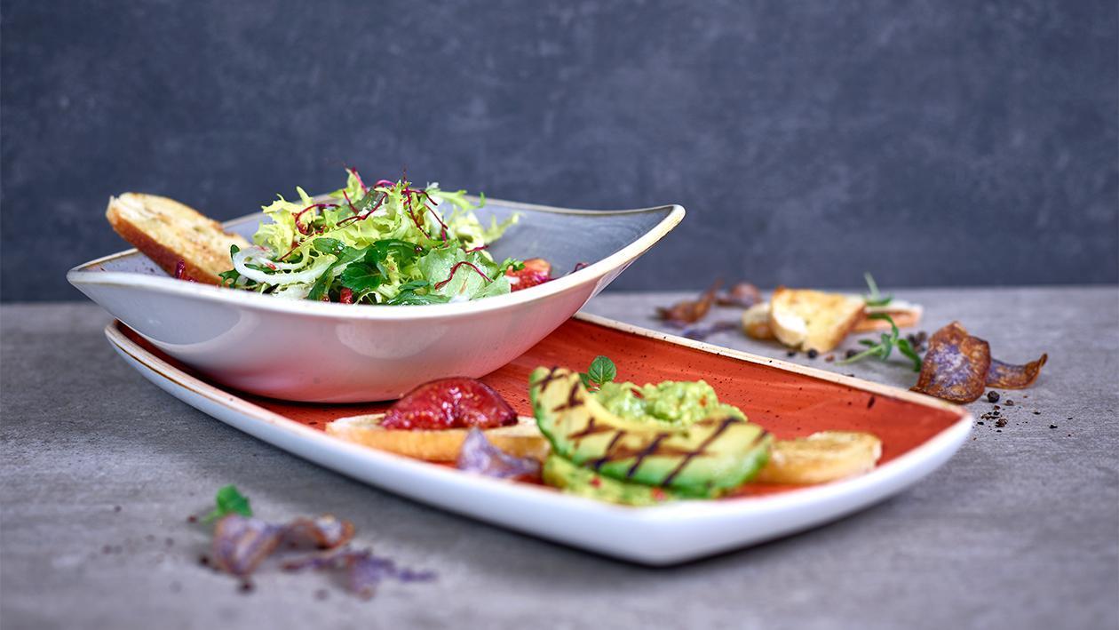 Avocado und  Feige mariniert mit Himbeervinaigrette