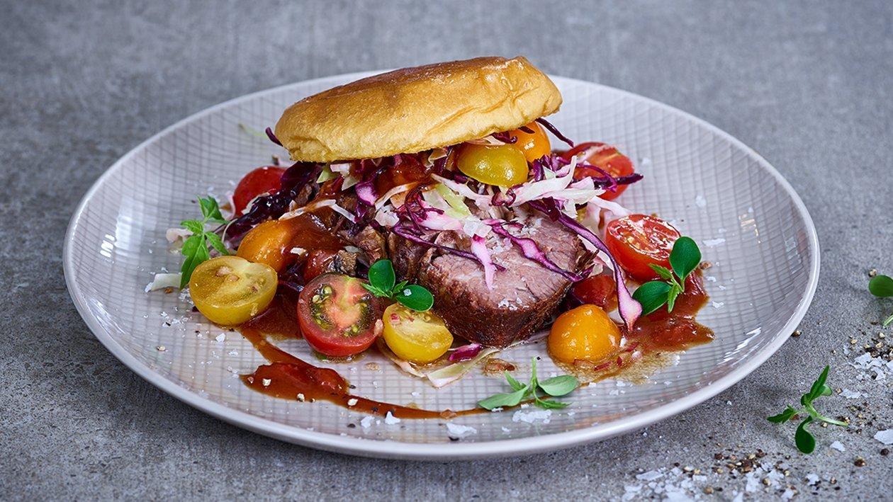 Beefbrisquet Burger mit Bourbon Chipotle Sauce