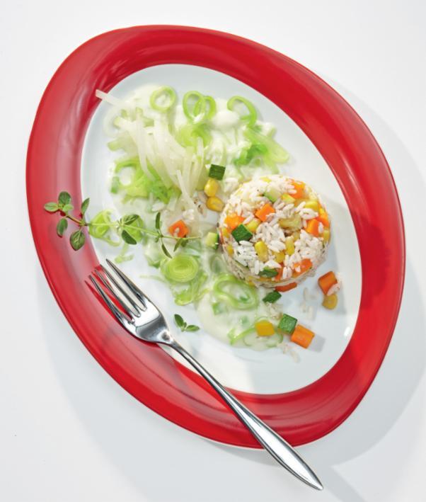 Buchweizen-Reis-Gemüse-Pfanne mit Lauchsauce