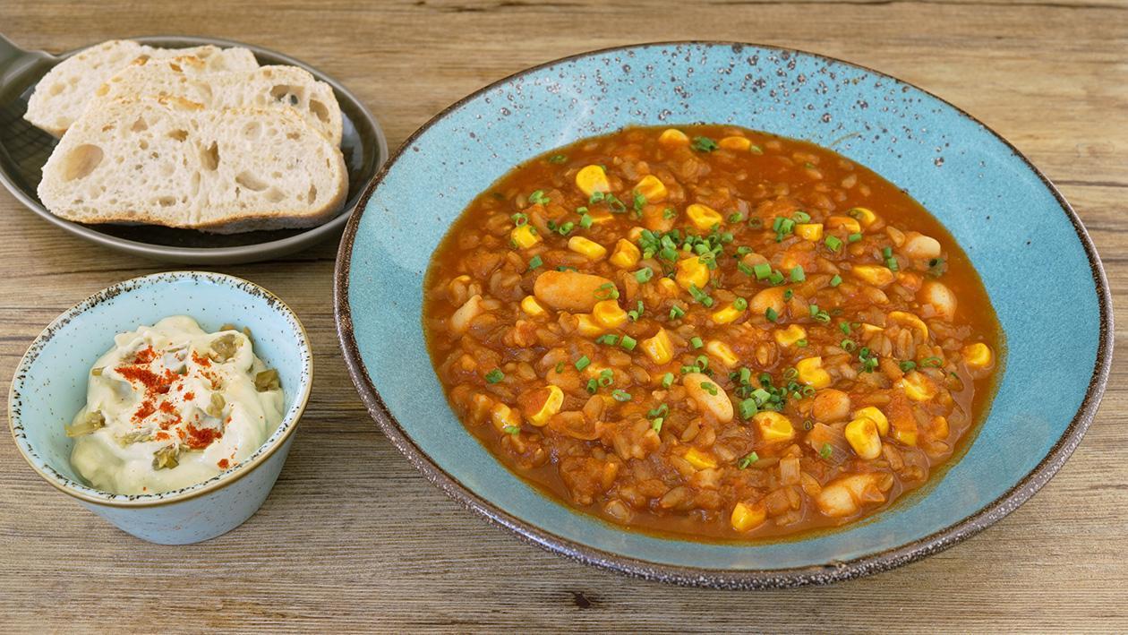 Chili sin Corn mit Guacamole Dipp