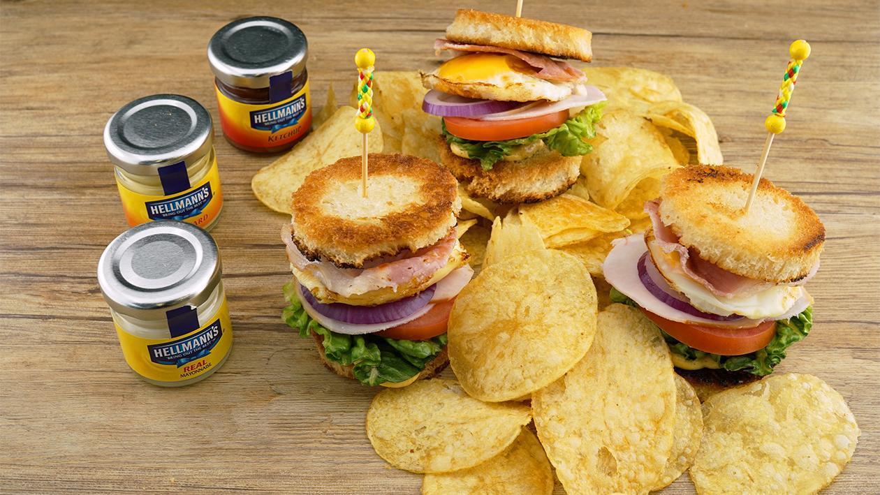 Club Sandwich Snack, Kartoffel Chips, Dipp