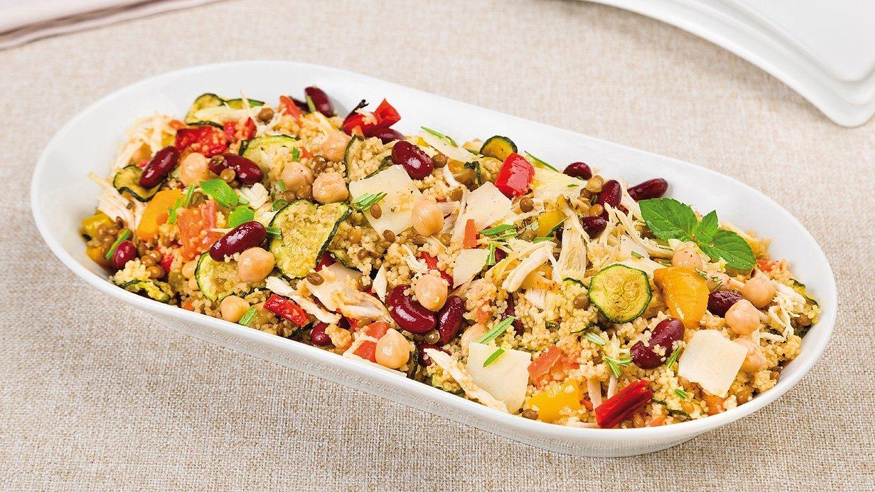Cous Cous Salat mit Hülsenfrüchten, Hähnchen und Parmesan