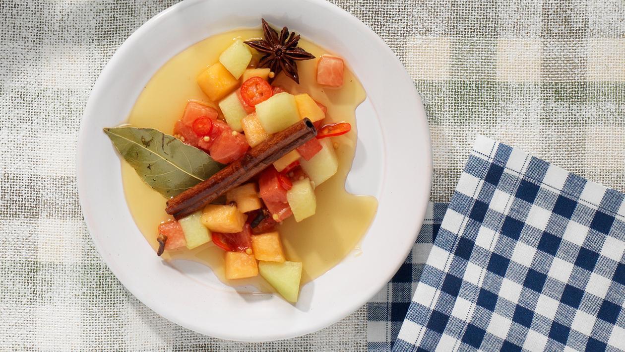 Eingelegte Melonenperlen