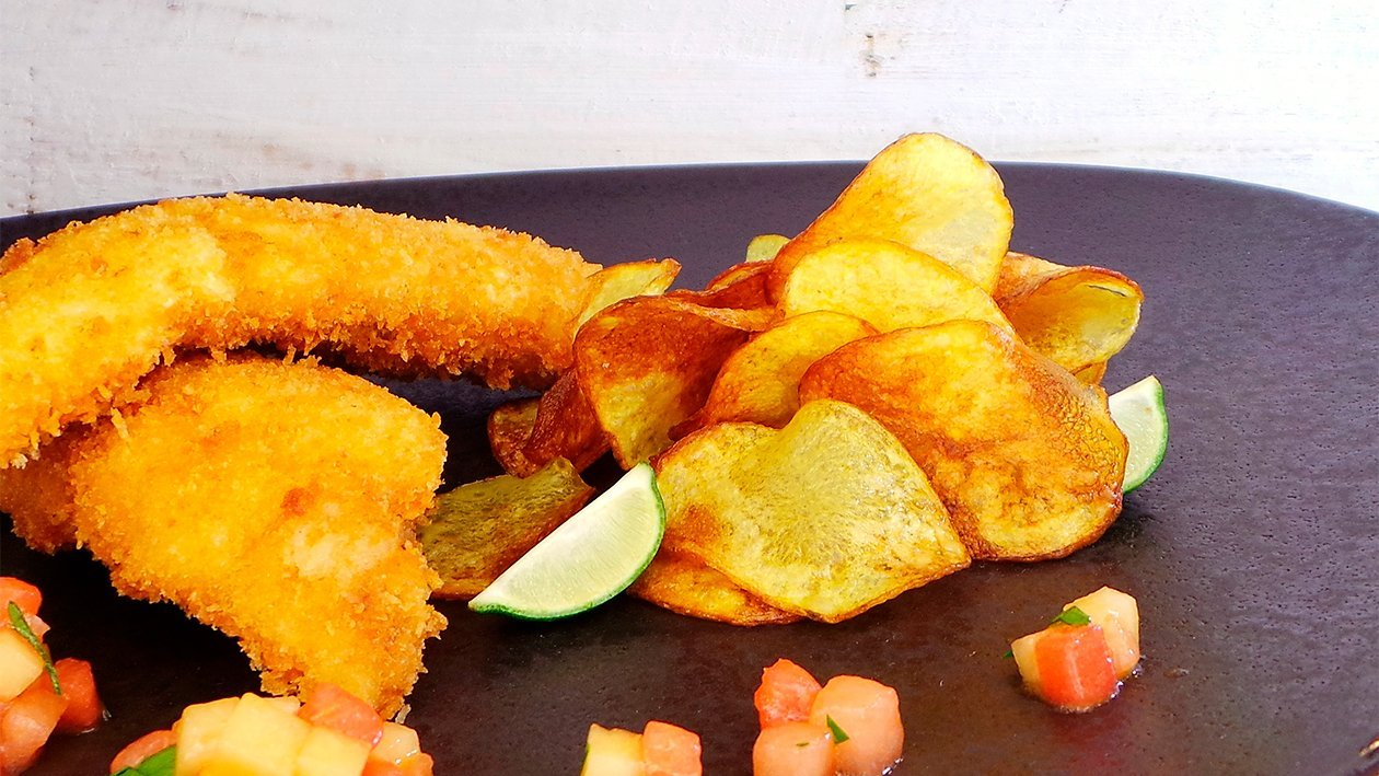 Fish and Chips mit Melonenchutney
