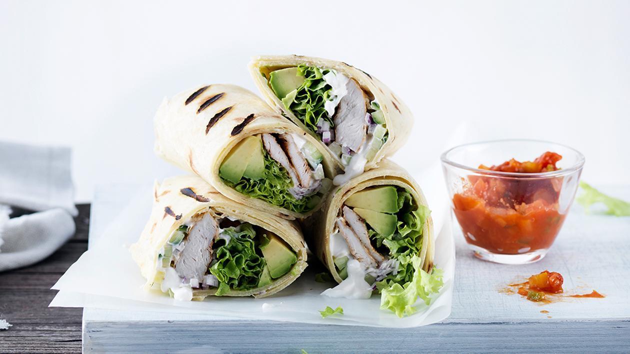 Gegrillter Poulet-Wrap mit Avocado