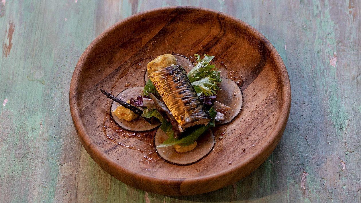 geräucherte Makrele mit Kichererbsen-Curry Ingwer Mayonnaise