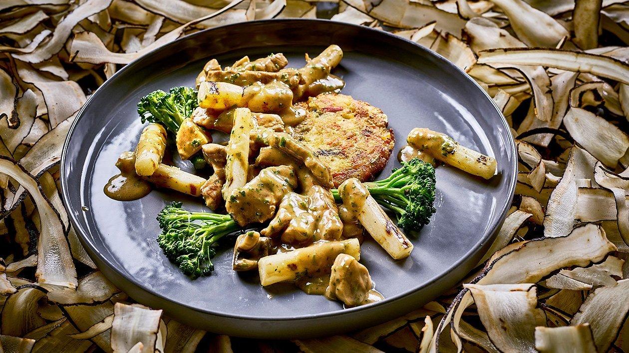 Geschnetzeltes an wildem Broccoli und Rösti
