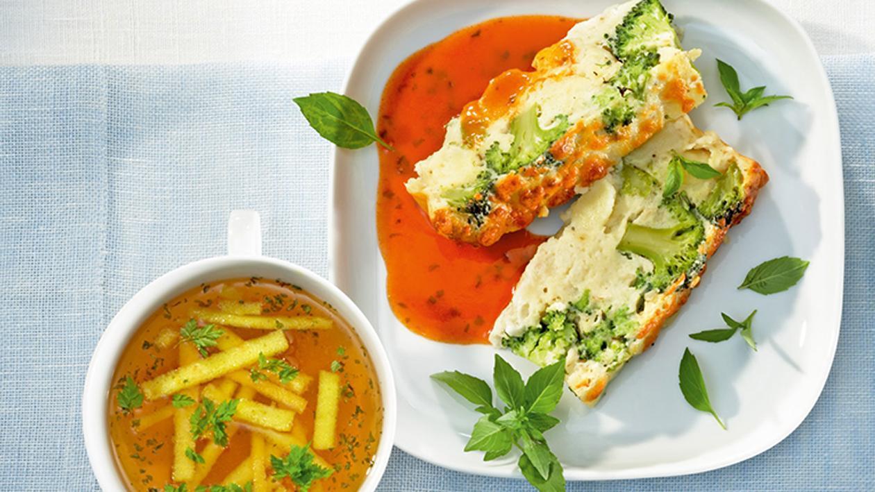 Gnocchi-Blumenkohl-Brokkoli-Auflauf an Tomatensauce all'Italiana