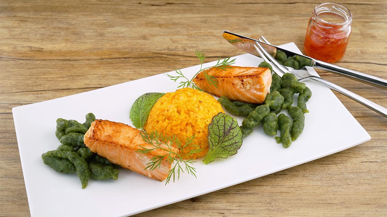 Hellmann´s Lachs - Karotten Couscous - Spinatspätzle Sunchine Chili