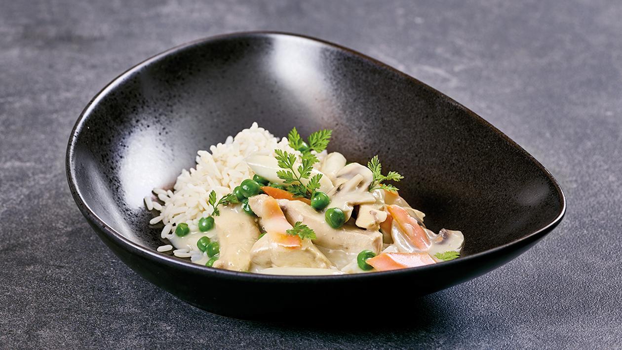 Hühnerfrikassee/Reis/Cremige Sauce