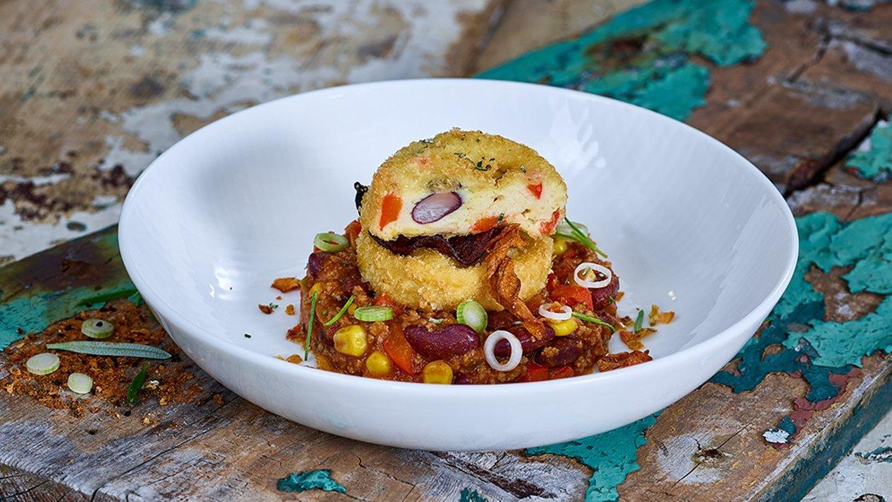 Kartoffelkuchen mit Chili con Carne