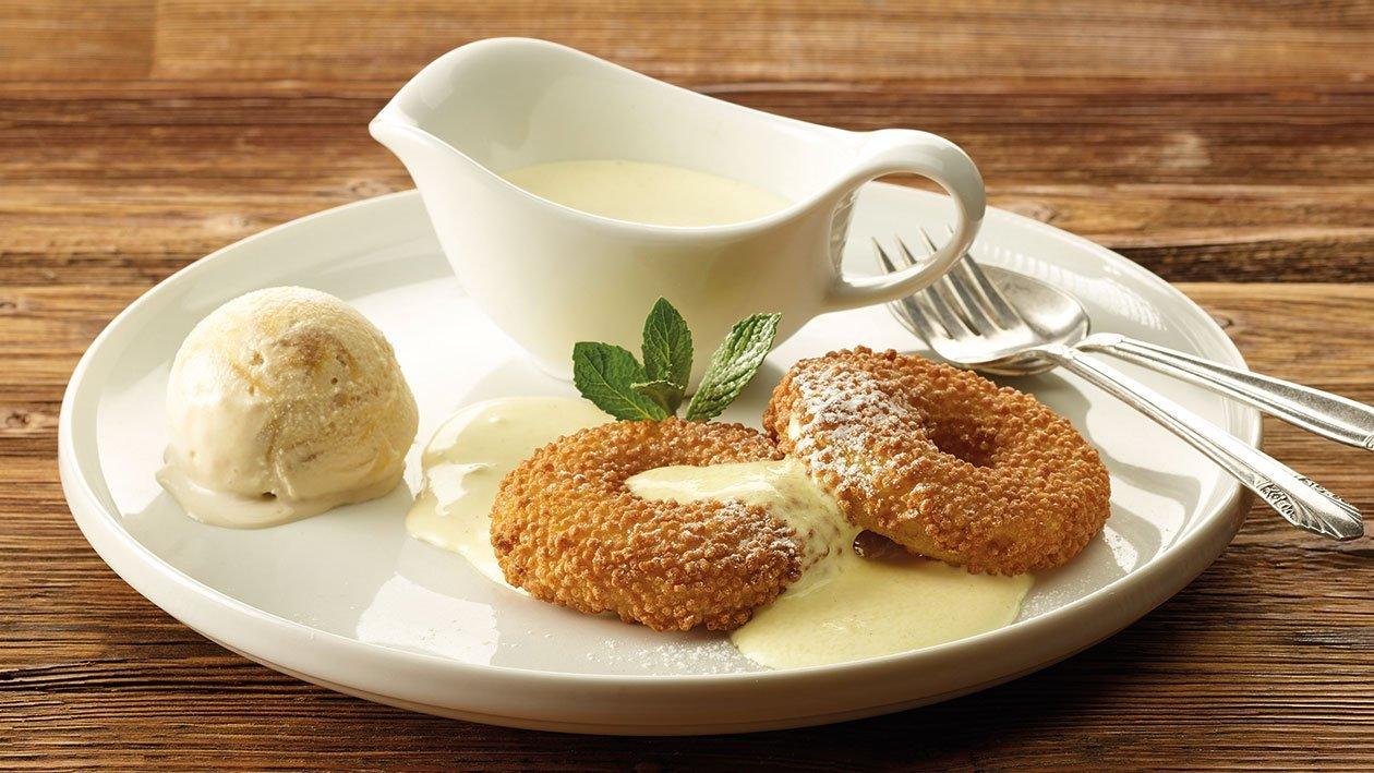 Knusprige Apfelradl mit Vanillesauce