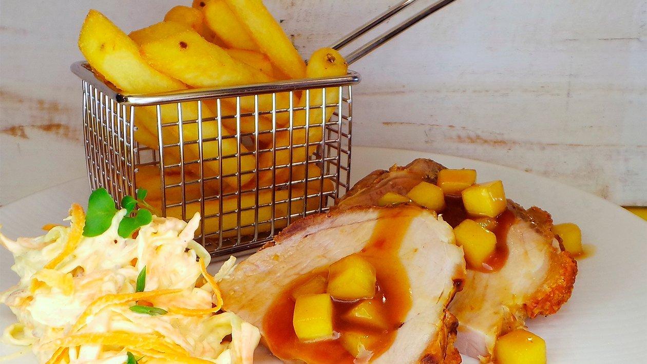 Krustenbraten mit Apfel-Cidersauce und Coleslawsalat