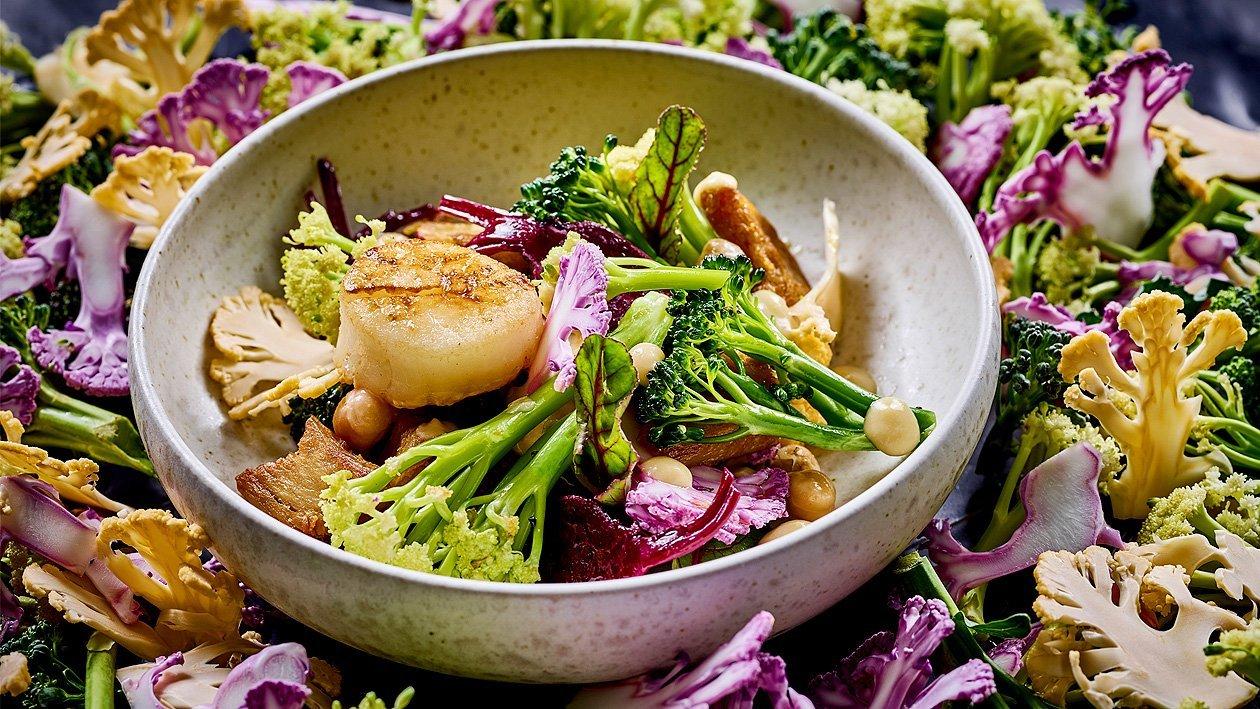 Lauwarmer Blütenkohl-Brokkoli-Salat mit roter Beete, Erbsencreme und Jacobsmuschen